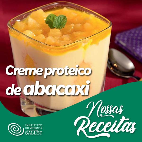 Creme aerado proteico de iogurte com abacaxi